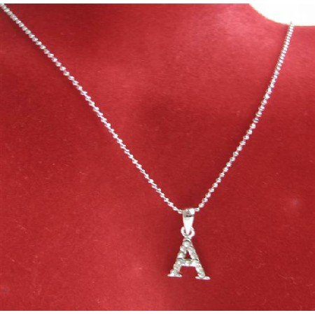 UNE232  Alphabet Pendant Necklace Letter A Fully Embedded w/ Cubic Zircon Pendant Necklace