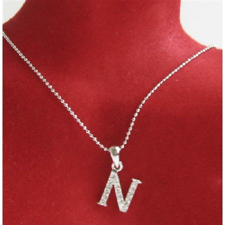 UNE227 Alphabet Pendant Necklace Letter N Fully Embedded w/ Cubic Zircon Pendant Necklace