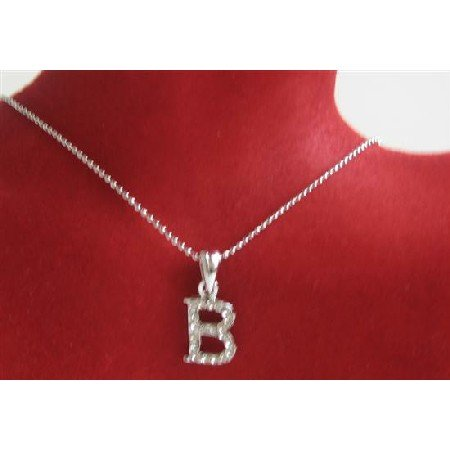 UNE234  Letter Alphabet Pendant Necklace Letter B Fully Embedded w/ Cubic Zircon Pendant Necklace