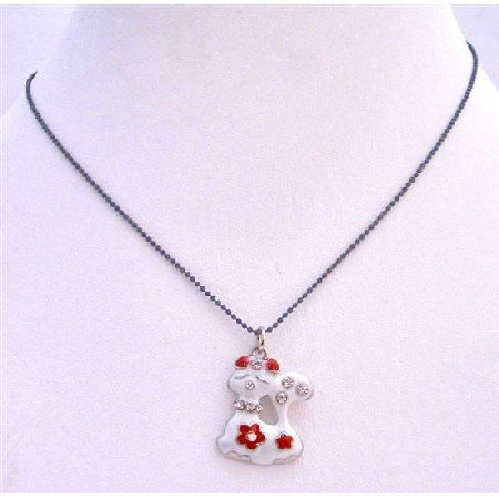 UNE207 Black Beaded Choker Necklace White Enamel Kitty Pendant w/ Red Bow On Her Head