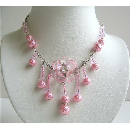 UNE050  Pink Acrylic Beads Necklace Flower Pendant w/ Dangling