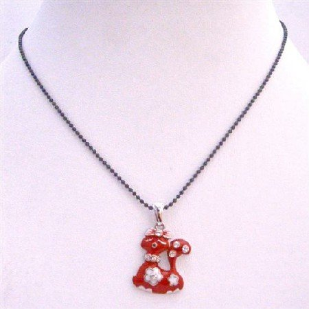 UNE206  Sexy Red Kitty Pendant Black Beaded Choker Necklace