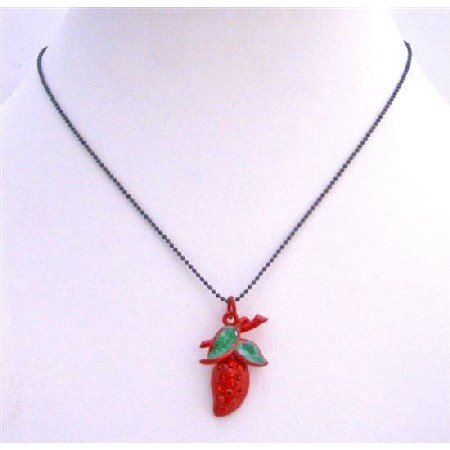 UNE208  Strawberry Red Pendant w/ Green Leaves Necklace