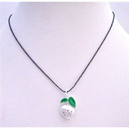 UNE201  White Enamel Apple Pendant Black Beaded Choker Necklace w/ CZ Embedded Pendant
