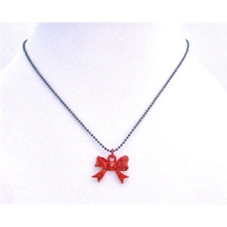 UNE212  Bow Pendant Choker Necklace Red Bow w/ Red Cz Pendant Necklace