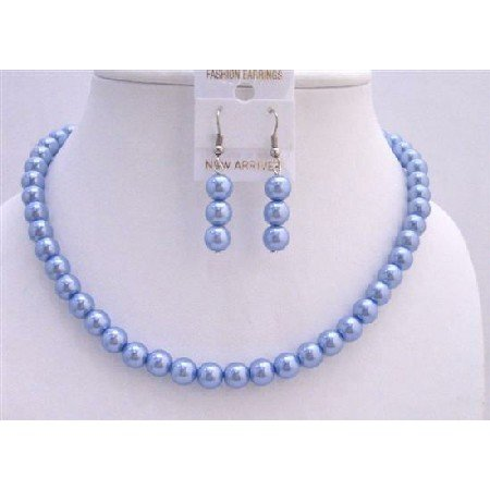 UNS008  Necklace Set Synthetic Pearls 16 Inches Necklace Light Cool Blue Pearls Jewelry Set