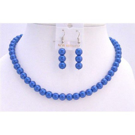 UNS003  Dark Blue Synthetic Pearls Jewerly Cool Necklace Set w/ Pearls Earrings