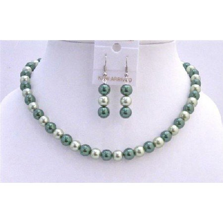 UNS005  Synthetic Pearls Jewelry Green Light & Dark Pearls Necklace Set