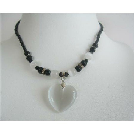 UNE130  PUre White Heart Pendant Necklace Cat Eye White Heart Black Beaded Choker Necklace