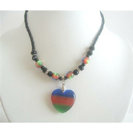UNE121  Heart Pendant Choker Colorful Tri Cat Eye Heart Pendant Necklace Choker