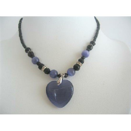UNE143  Amethyst Heart Pendant Necklace Cat Eye Heart Pendant Black Beaded Choker Necklace