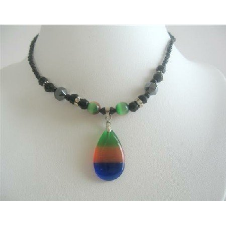 UNE116  Colorful Teardrop Pendant Choker Tri Color Cat Eye Pendant Necklace Choker