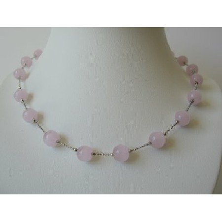 UNE091  Pink Glass Faceted Beads Necklace