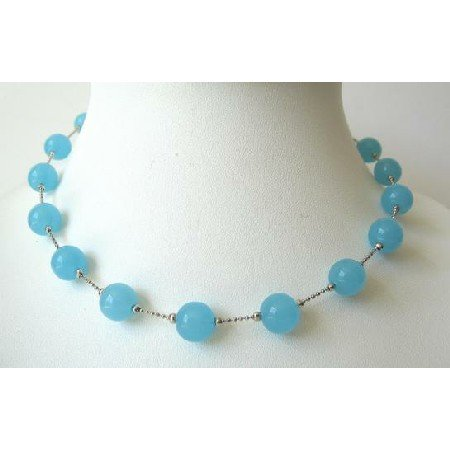 UNE069  Blue Glass Faceted Beads Choker Necklace