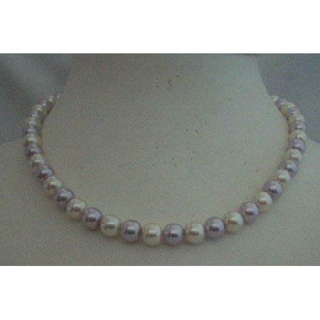 U093  Cream Necklace Cultured Pearls & Lt. Purple Choker