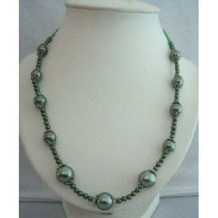 UNE028  Green Simulated Pearls Long Necklace 20 w/ Bali Metal
