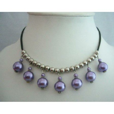 UNE027  Purple Cultured Pearls Choker w/ Silver Beads Necklace