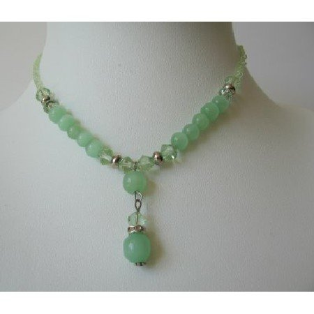 UNE087Crystals Bead Necklace w/ Green Beads & Simulated Erinite Crystals Choker & Drop Down