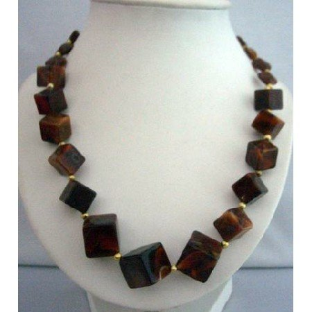UNE036  Long Necklace 28 Inches Brown Beaded Necklace Elegant Jewelry