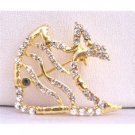 B202  Gold Brooch Gold Fish Brooch Spread & Artistically Decorated w/ Cubic Zircon