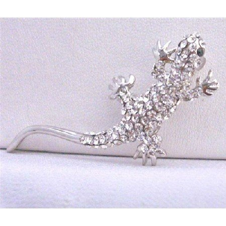 B253  Lizard Brooch Fully Embedded W/ Rhinestones Encrusted Artistically w/ Cubic Zircon