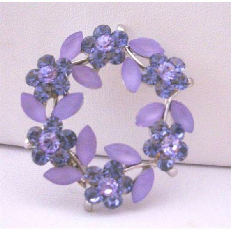 B126  Sapphire Crystals Flower Brooch Round Flower Silver Casting Brooch