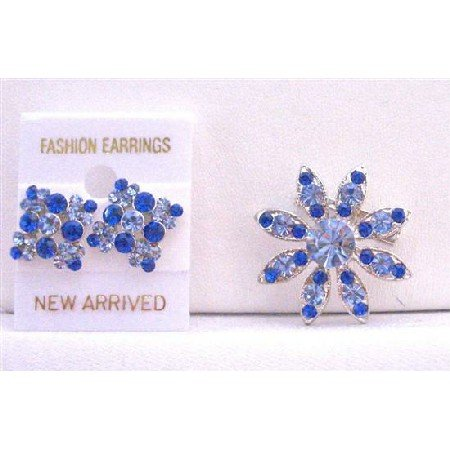 B303  Sapphire Crystals Round Brooch And Earrings Perfect For Dress/Ear Matching New Combo