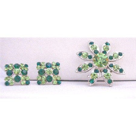 B298  Peridot Emerald Green Crystals Round Brooch WIth Matching Earrings New Combo