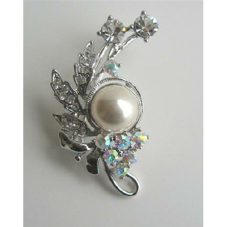 B116  AB Crystals Brooch/Pin w/ Pearls & Cubic Zircon Decorated Brooch