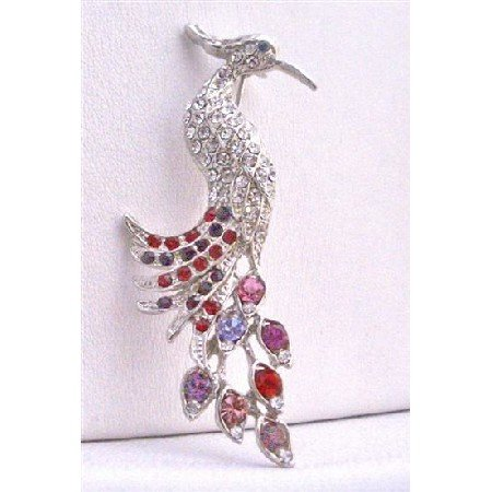 B223  Silver Casting Peacock Brooch Peacock Feather Decorated w/ Mulitcolor Rhinestones