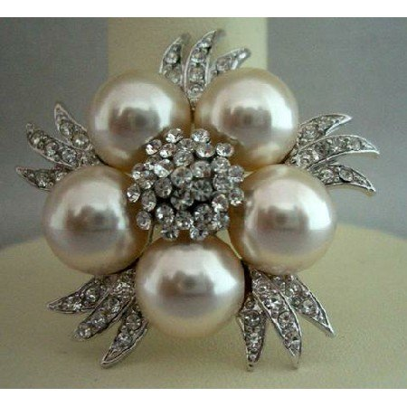 B024  Bridal Simulated Diamond Crystals Pearls Brooch Pin Vintage Brooch