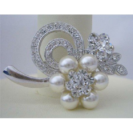 B067  Pearls Flower Brooch Pin Bridemaides Brooch Pin Pearls & Cubic Zircon