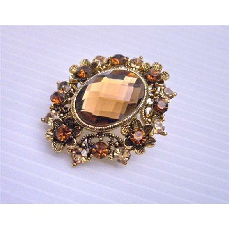 B161  Copper Brooch Made w/ Small Flowers Sparkling Smoked Topaz Crystals Embedded