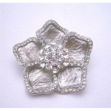 B122  Sparkling Dreesed Brooch Pin Cubic Zircon Sophisticate Bridal Brooch Pin