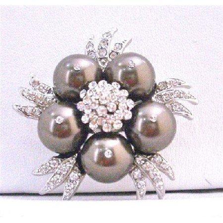 B293 Darkest Brown Pearls Brooch Chocolate Brown Pearls Vintage Brooch Swarovski Pearls Brooch