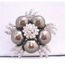 B293 Darkest Brown Pearls Brooch Chocolate Brown Pearls Vintage Brooch Swarovski Pearls Brooch