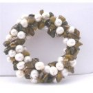 B113  Handcrafted Freshwater Pearls Brooch Pin w/ Tiger Eye Nugget Chip Stone Wedding Brooch