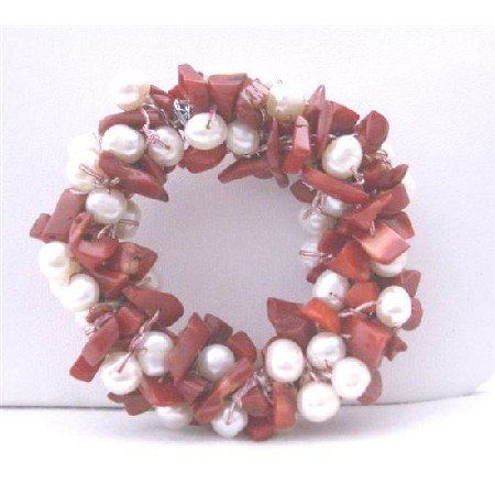 B115 Handcrafted Freshwater Pearls Brooch Pin w/ Coral Nugget Chip Stone Bridal Brooch