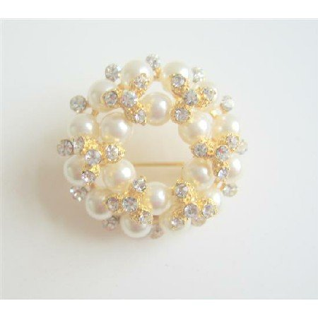 B016  Multi Pearls Round Gold Brooch w/ Sparkling Diamond Cz Gold Plated Brooch Jewelry