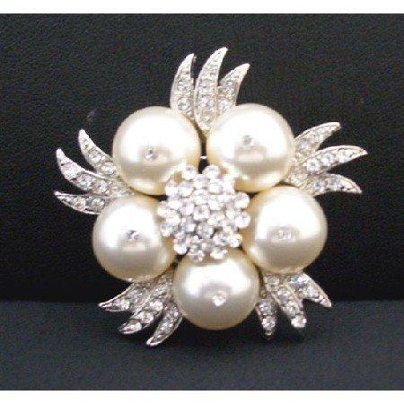 B304  Swarovski Ivory Pearls Brooch Genuine Swarovski Pearls Wedding Brooch w/Simulated Diamond