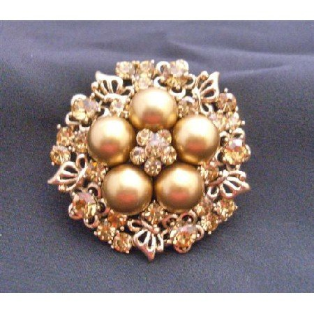 B170 Gold Bridal Wedding Brooch Gold Pearls w/ Golden Shadow Cubic Zircon Nest Style Brooch