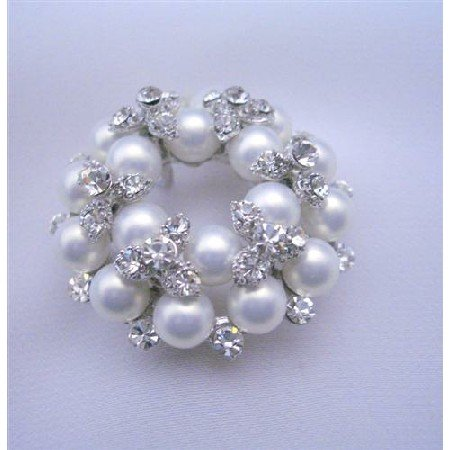 B036  Vintage Pearls Brooch Pin w/ Cubic Zircon Bud Decorated Brooch