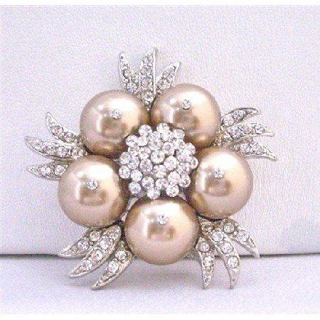 B294  Bronze Swarovski Pearls w/ Sparkling Diamond Cubic Zircon Bridal Brooch
