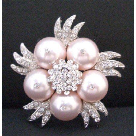 B310  Swarovski Rose Pearls Brooch Dainty Sleek Rose Pearls Brooch