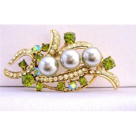 B260  Olivine Crystals Brooch Pearls & Crystals Brooch Dress Brooch 2 1/4 Inches Long