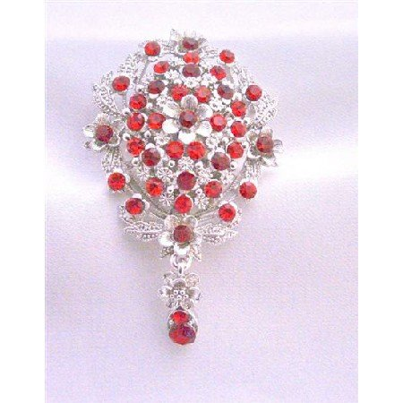 B222  Siam Red Crystals Brooch Bridal Brooch Gorgeous Silver Casting Brooch