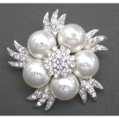 B313  White Pearls Brooch Bridal Wedding Bridemaids Swarovski White Pearls Brooch