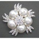 B313  White Pearls Brooch Bridal Wedding Bridemaids Swarovski White Pearls Brooch
