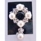 B256  Bridal Wedding Brooch Cake Brooch Pearls & Simulated Diamond Dangling 2 Inches Long
