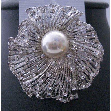 B102  Dreesed Brooch Pin Cubic Zircon Sparkling Sophisticate Bridal Brooch Pin